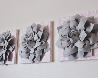 Light Pink Damask Print with Gray 3D Flowers Wall Art Canvas Set of 3 Canvases Wall Decor ART Baby Nursery