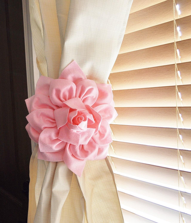 Light pink curtains - Nursery Decor Two Dahlia Flower Curtain Tie Backs Curtain Tiebacks Curtain Holdback Drapery Tieback