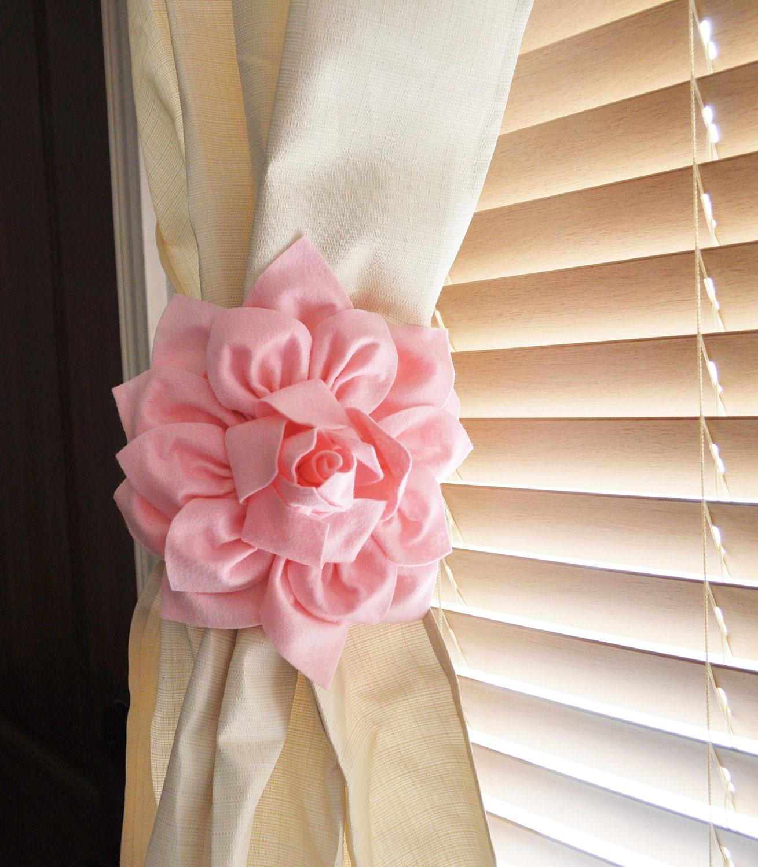 Nursery Decor-TWO Dahlia Flower Curtain Tie Backs Curtain