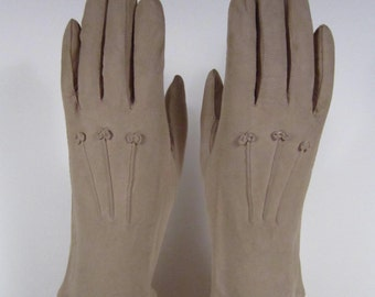 6-1/2-Vintage Women's Tan Kid Leather Church/Dress Gloves - 9 inches long(203g)