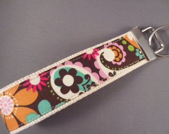 Keychain Fob -- Fun Floral on Natural Webbing