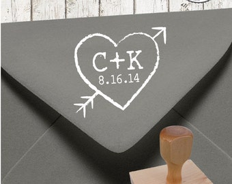 HEART N ARROW  --  1 X 1 inch -- Personalized Rubber Stamp Wedding Couple Initials Established Date Paper Goods