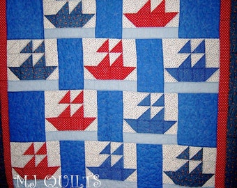 """Incoming Fleet  Patchwork Quilt-Handmade Quilt-Bed Quilt-68"""" X 92""""-Made in USA by MJ Quilts-Free Shipping"""