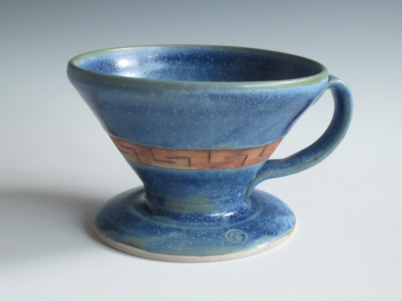 Drip coffee maker / handmade / pottery / blue / coffee cone
