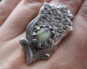 READY TO SHIP Lovely Labradorite Souvenir Spoon Bouquet Cocktail Statement Ring with Sterling Silver Bezel and Band Size 8.5 One of a Kind.