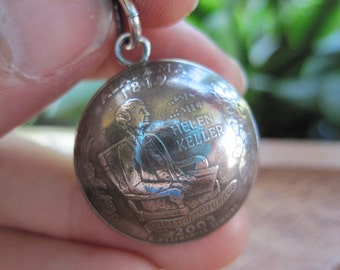 Domed Alabama State Quarter Pendant with Sterling Silver Bail MADE TO ORDER.