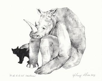 "Rhino Print 8"" x 10"" title: ""It's ok to be sad sometimes"""