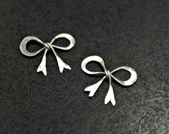 NEW! - 8 pcs - Antiqued Finish Sterling Silver Sweet Bow Charms - handmade - BC003