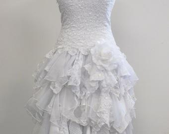 Short Wedding Dress, Strapless Dress, Bride Gown, Elopement Dress, Stretch Lace Drop Waist Bodice