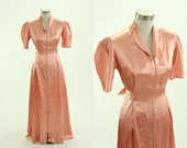 1930's Pink Satin Dress M L Hostess Gown House Robe Maxi Wonder Maid