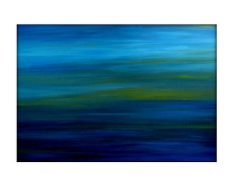 Original Abstract Landscape Sea Scape Acrylic Modern Painting on Canvas - 24x36 - Yellow, Turquoise White.