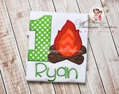 Camp Fire Birthday Appliqued T-shirt - Unisex Personalized Kids Camping Themed Birthday Shirt