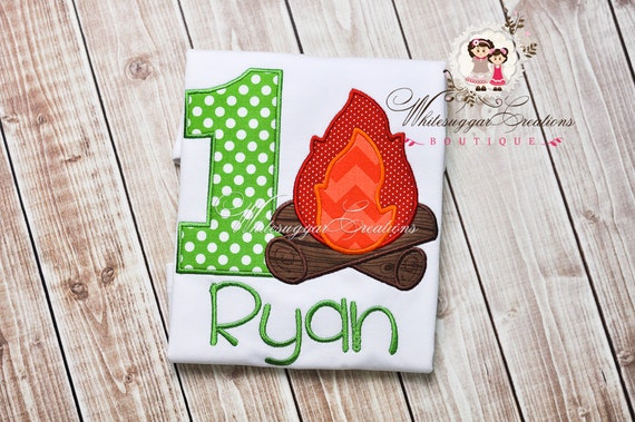 Camping Birthday Appliqued Shirt - Boys Embroidered Camping Themed Birthday Shirt, 1st Birthday Outfit - Baby Boy Birthday Shirt