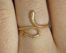 snake ring, gold snake ring, gold ring,thin ring,gold filled ring,stacking ring, dainty ring,band ring,wrap ring,statement ring,simple ring