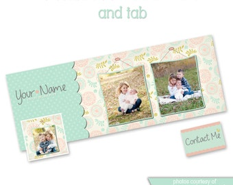 INSTANT DOWNLOAD - Facebook timeline cover photoshop template and coordinating profile thumbnail - 0799