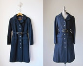 1970s Trenchcoat/ Belted Trench/ Navy Wool Trench