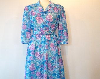 Vintage 70s / Blue / Floral Print / Puff Sleeve / Secretary Dress / SMALL / Medium