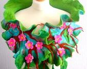 sale  sale  Hand Felted, Wool Jewelry felted woman ART scarf-sakura blossom--