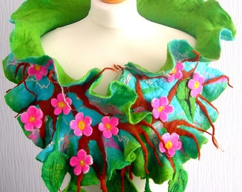 sale  sale  Hand Felted, Wool Jewelry felted woman ART scarf-sakura blossom--