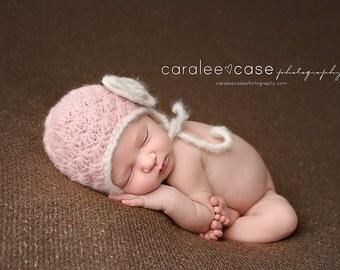 Baby Girl Hat, Pink Crochet Infant Hats, Newborn Hat for Girls, Baby Earflap Hat, Newborn Girl Photo Prop Hat, READY TO SHIP, Newborn, 0-3M
