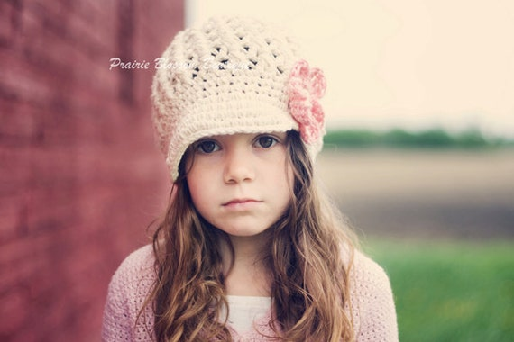 Off White Girl's Newsboy Hat in Cotton - Crochet Girl's Hat with Flower, Hats for Girls, 5T to Preteen