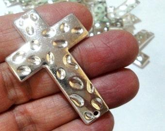 Silver Cross Bracelet Connector - Cross Sideway - Cross Charm Necklace Link - (3) Pcs - 51mmx34mm - Silver Metal Jewelry Findings