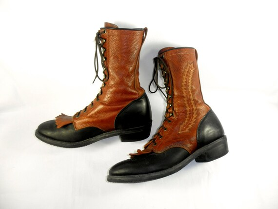 RESERVED for this redbox// Two Tone Dan Post Lace Up Packer Boots with Kiltie, Men's Size 11.5 D