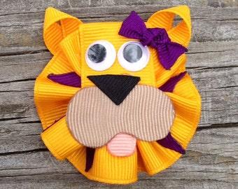 LSU Tiger Hair Clip, Gold and Purple Tiger Hair Clip, Toddler Hair Clip, Zoo Animal Hair Clip, Tiger Hair Clip, Girls Hair Bows