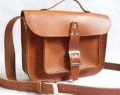 "Vintage look veg. tan Leather Handsewn 11"" Messenger Bag In Brown"