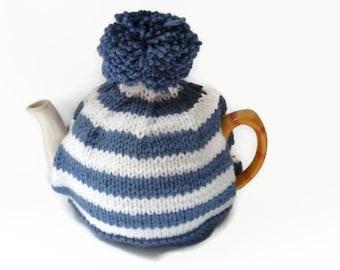 tea cozy cosie blue and white stripe  with pom pom