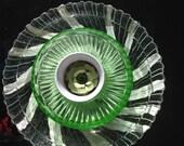 Depression Green Vaseline Floral Glass Arrangement