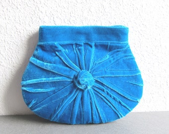 Made to Order - Blue Clutch Bag. Pleated Moon Clutch. .Unique Elegant and retro Blue Plush Clutch Bag in vintage style