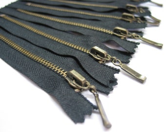 5pcs, 4' inch Black Metal Zippers