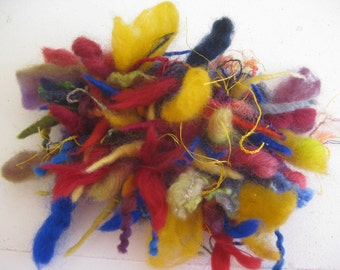 TEXTILE BROOCH  -  autumn colours,  lots of FIBER,  Wool yarns,  Felt backed, Autumn Accessory