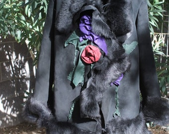 showdiva Dramatic Asymmetrical Toscana Shearling Leather Coat with Hand Sculpted Garden Flowers and Vines
