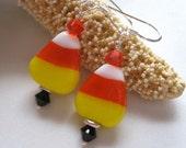 Sweet Candy Corn Lampwork Earrings