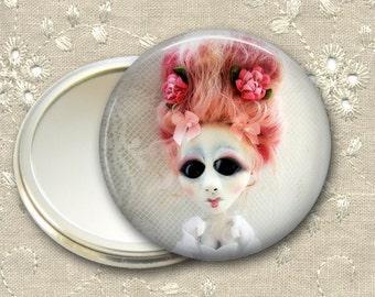 gothic doll pocket mirror,  original art  hand mirror, mirror for purse, bridesmaid gift, stocking stuffer MIR-AD58