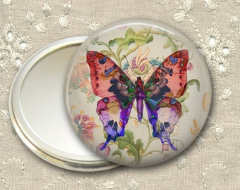shabby butterfly pocket mirror,  original art hand mirror, mirror for purse, bridesmaid gift, stocking stuffer  MIR-360