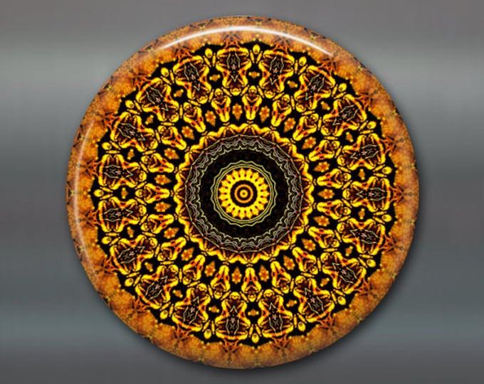 "3.5"" mandala fridge magnet, kaleidoscope art magnet, orange kitchen decor, large magnet, stocking stuffer,  housewarming gift, MA-MAND-9"