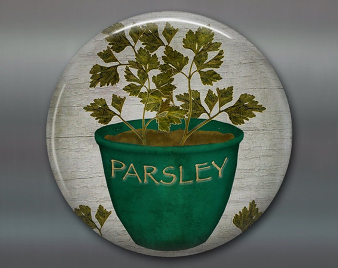 """3.5"""" Refrigerator Magnets, parsley magnet, hand painted herb art magnet, country kitchen decor, gift for gardener, primitive decor MA-1618"""