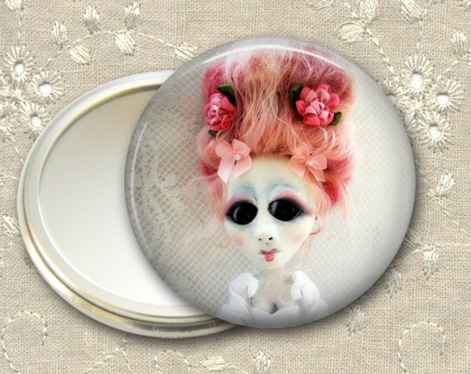 gothic doll pocket mirror,  original art  hand mirror, mirror for purse, bridesmaid gift, stocking stuffer MIR-AD58