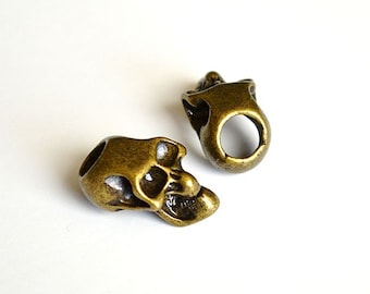 1 - Metal Bronze Skull Bead For Paracord Bracelets, Lanyards, & Other Projects (Vertical Hole)