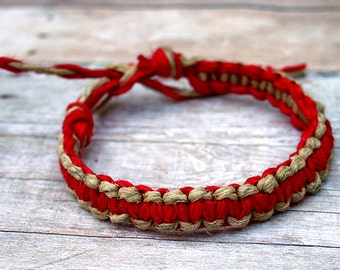 Surfer Macrame Hemp Bracelet Red and Natural Woven Knot Friendship Bracelets