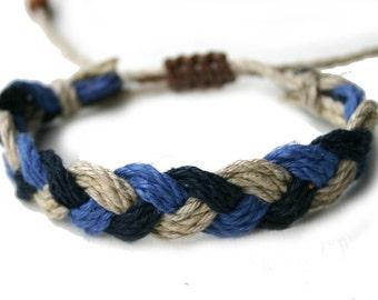 Surfer Sailor Style Hemp Bracelet Mixed Colors Black Natural Blue