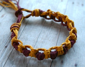 Surfer Thick Hemp Bracelet Or Anklet Knots Crimson Gold