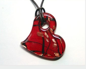Leather Necklace with Red Glass Heart