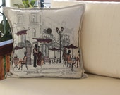 Café de Paris, grey, whitesmoke and maroon decorative woven throw pillow case cushion cover ideal christmas gift for stylish home owners
