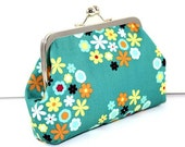 SALE Teal Floral Cotton Clutch FREE SHIPPING