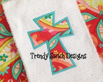 Cross 3 Applique Design Machine Embroidery Design INSTANT DOWNLOAD Raggy