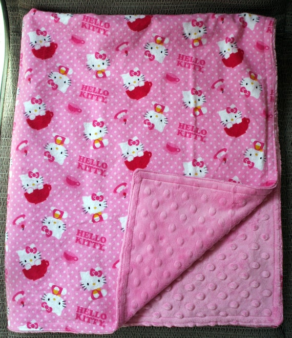 Baby Blanket Hello Kitty On Pink Flannel With By